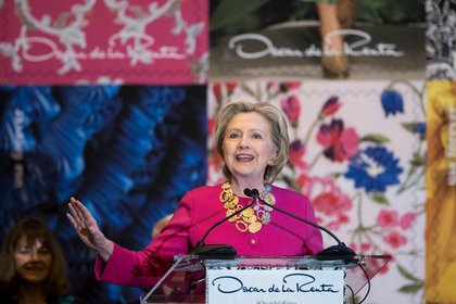 Hillary Clinton at the unveiling of the Oscar de la Renta stamp<br>