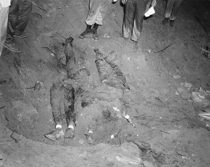 The men's bodies in the dam<br/>