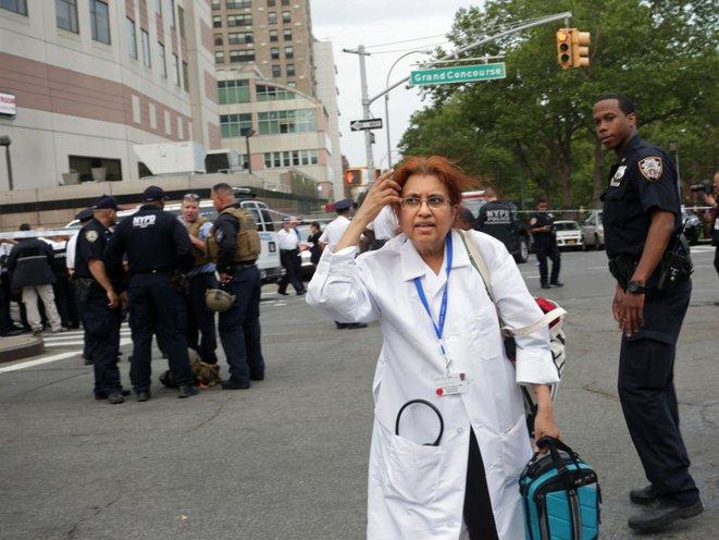 Staff leave Bronx Lebanon Hospital (Getty Images)