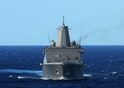 The amphibious transport dock ship USS New York (LPD 21) is underway in the Atlantic Ocean.