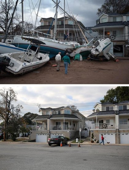 """Getty published these <a href=""""http://gothamist.com/2013/10/24/stunning_side-by-side_photos_show_s.php#photo-1"""">side-by-side photos showing</a> the difference in one year: [Top] Boats pushed up by Hurricane Sandy lie against residences near a marina on November 2, 2012 in the Staten Island borough of New York City. [Bottom] A woman walks her dog near a marina on October 17, 2013 in the Staten Island borough of New York City.(Getty Images)"""