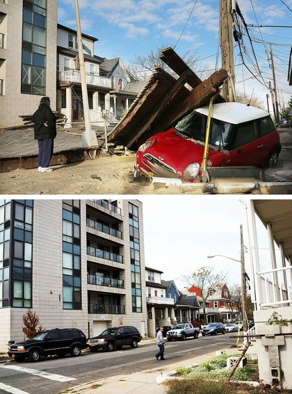 [Top] A woman looks at a damaged car, after Hurricane Sandy October 31, 2012 in the Queens borough of the Queens borough of New York City. [Bottom] A man walk down a street on October 20, 2013.