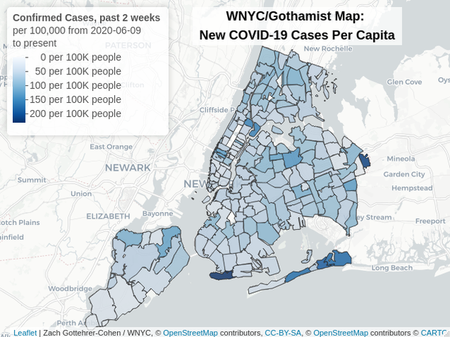 A heat map showing the rates of COVID positives per capita in each zip code in each borough. The darker the color, the more confirmed cases per capita. The highest density areas are in northern Queens, near Corona and East Elmhurst and in the east Bronx. The lowest densities are in lower Manhattan.