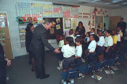 Bush at the  Emma E. Brooker Elementary School in Sarasota, Fla.</br>
