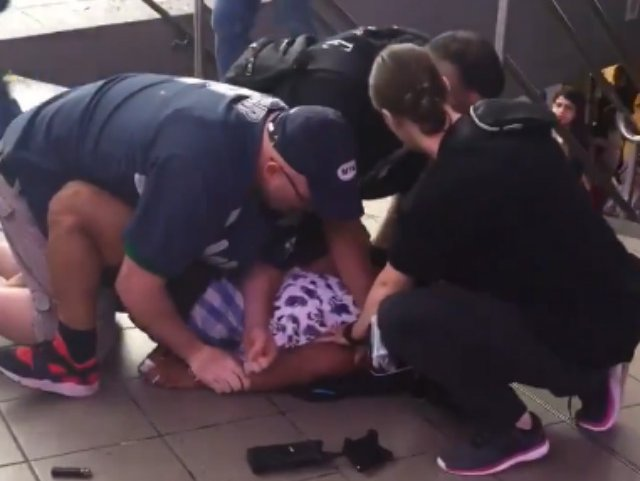 Police said a man jumped a turnstile then resisted arrest in Jackson Heights on Friday