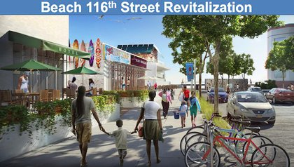 """""""This plan will set forth City sponsored strategies (including, potentially,incentive programs and land use changes) that will encourage the rebuilding of retail that was destroyed by Sandy along Rockaway BeachBoulevard, as well as the attraction of new development to underutilized lots (such as a possible """"anchor block"""" at the corner of Beach116th Street and the beach). Development of this plan will be started by NYCEDC and DCP in 2013, with completion expected in 2014."""""""