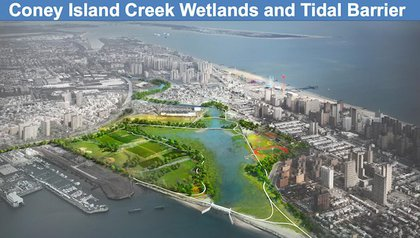 """"""" Known as revetments, stone shorelines protect against erosion and rising sea levels. The City proposes installations across Coney Island Creek, to prevent """"back-door flooding"""" from smaller storms."""""""