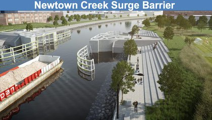 """""""The City will work with the U.S. Army Corps of Engineers to design and install a storm surge barrier with gates and connecting levees at Newtown Creek that is navigable in non-storm conditions. In extreme weather, the barrier system close, keeping water from flowing into the creek and creating """"backdoor flooding"""" in neighborhoods from Long Island City and Greenpoint in Maspeth."""""""