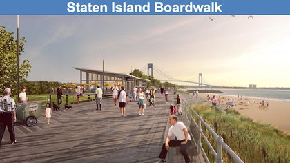 """""""The City will construct an extensive system of permanent levees, floodwalls and other protective measures along the East Shore of Staten Island – from Fort Wadsworth to Tottenville, including Midland Beach. The project will rise as high as 15 to 20 feet, protecting communities that were devastated by Sandy and that have seen coastal flooding even during regular nor'easters for years."""""""