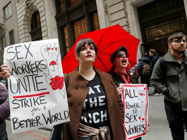 Protesters rally for protections for sex workers on May Day