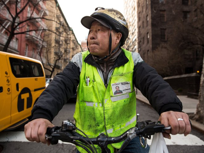 """Yang Hai described the patrons of the Upper East Side Chinese restaurant he works for as """"people with low incomes, that's who I deliver to most often,"""" he says in Mandarin. """"The doormen, the security guards, construction workers, nurses, the people that work in this neighborhood."""""""