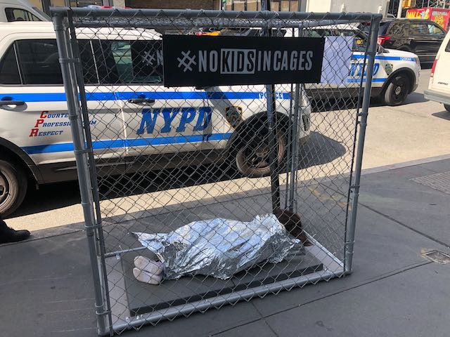 One of the cages installed in Manhattan, located at Broadway and Houston Street.