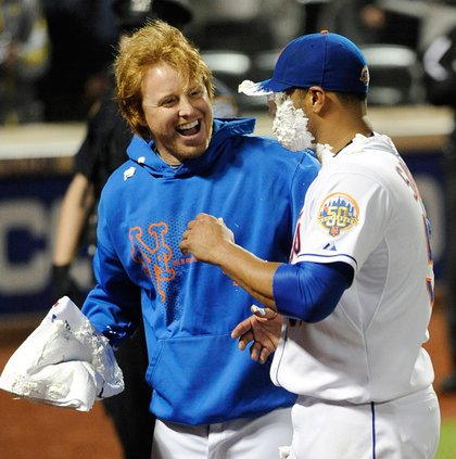 Justin Turner hits Santana with a shaving cream pie
