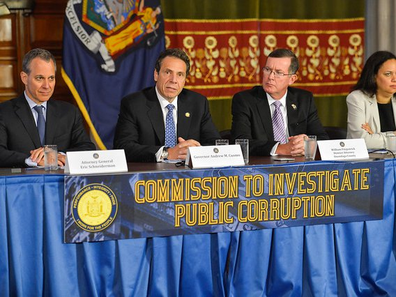 Gov. Cuomo at the 2013 creation of the Moreland Commission, which he un-created in 2014