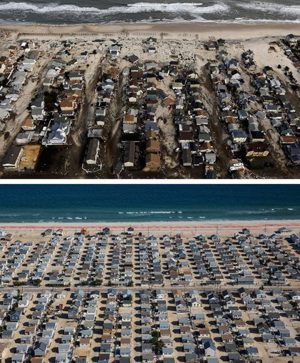 [Top] Homes are shown surrounded by sand and debris in Seaside Heights, New Jersey October 31, 2012. [Bottom] Homes are shown in Seaside Heights, New Jersey are shown October 21, 2013.(Getty Images)