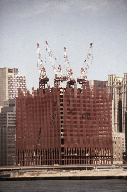 The north tower under construction, circa 1969. (Hulton Archive/Getty Images)
