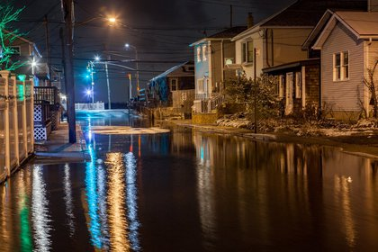 Flooded 6th Road in Broad Channel, Queens<br/>
