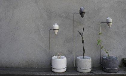 "Garrett Benisch's ""Ice Planter,"" which features melting ice to irrigate non-native plants<br>"