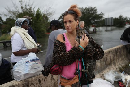 Evacuees wait to be transported to a shelter after being rescued from the flooding of Hurricane Harvey on August 30, 2017 in Port Arthur, Texas<br>(Getty Images)