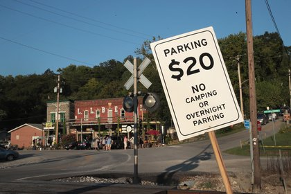 A sign advertises parking spots for the Solar eclipse on August 19, 2017 in Makanda, Illinois.<br>