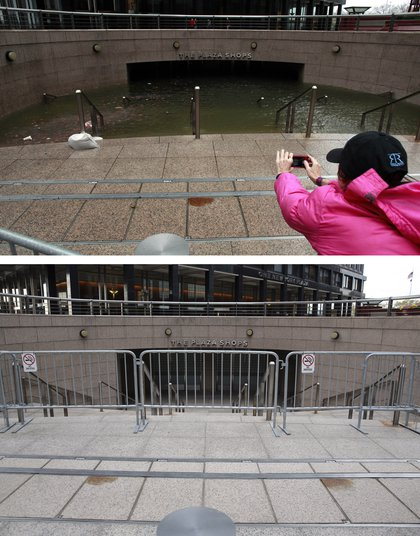 [Top] Water floods the Plaza Shops in the wake of Hurricane Sandy on October 30, 2012 in New York City. [Bottom] The underground Plaza Shops in lower Manhattan remain closed due to flooding from Hurricane Sandy almost a year after the storm on October 22, 2013.