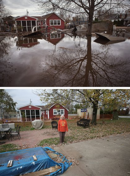 [Top] Water continues to flood a neighborhood on November 1, 2012 in the Ocean Breeze area of the Staten Island borough of New York City. [Bottom] Janet Hague stands in her back yard on October 17, 2013.