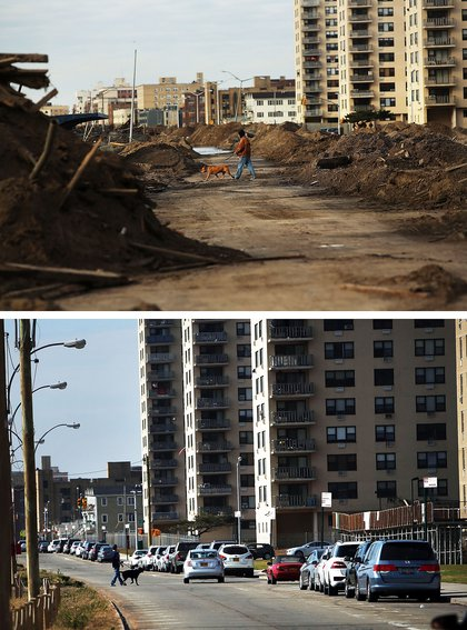 [Top] A man walks a dog through a heavily damaged section on November 2, 2012 in the Rockaway neighborhood of the Queens borough of New York City. [Bottom] A person walks a dog on October 23, 2013.