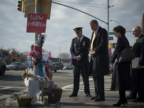 On January 14, 2014, Mayor Bill de Blasio, Police Commissioner Bill Bratton, incoming Transportation Commissioner Polly Trottenberg and Deputy Inspector Kevin Maloney of the 114th Precinct meet at Northern Boulevard and 61st Street, the dangerous Woodside intersection where 8-year-old Noshat Nahian was struck and killed in the crosswalk while walking to school in December