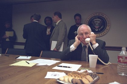 "From FRONTLINE: ""Cheney made a series of calls from the PEOC, including to Secretary of Defense Donald Rumsfeld. Terrorists had attacked the Pentagon at 9:37 a.m.""<br/>"