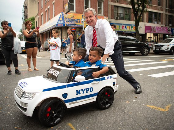 Mayor Bill de Blasio participates in National Night Out Against Crime last August
