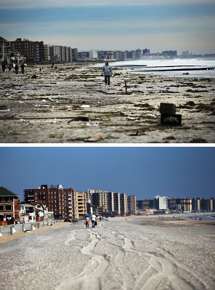 [Top] A man walks along the heavily damaged beach on November 2, 2012 in Rockaway neighborhood of the Queens borough of New York City. [Bottom] People walk down the beach on October 23, 2013.
