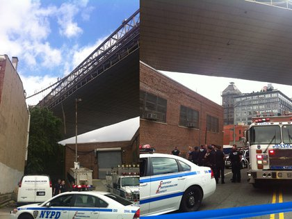 The dangling rope (L); police questioning passersby