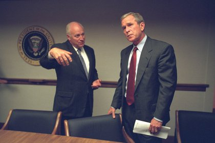 "From FRONTLINE: ""Cheney confers with President Bush, who had arrived at the PEOC around 7:00 p.m., after his plane was diverted to Louisiana and Nebraska.""<br/>"