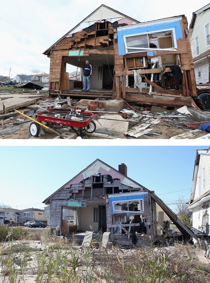 [Top] Gary Silberman surveys his home that was destroyed by Hurricane Sandy on October 31, 2012 in Lindenhurst, New York, United States. [Bottom] A home on Venetian Boulevard sits still damaged by Superstorm Sandy on October 22, 2013 in Lindenhurst, New York.