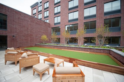 """The building's very own bocce court. """"First in Brooklyn,"""" Guzman adds."""