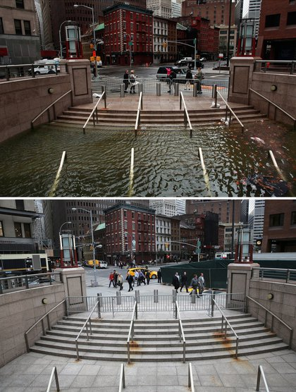 [Top] Water floods the Plaza Shops in the wake of Hurricane Sandy, on October 30, 2012 in New York City. [Bottom] The entrance to the underground Plaza Shops remains closed due to unfinished renovations almost a hear after being flooded by Hurricane Sandy October 22, 2013.