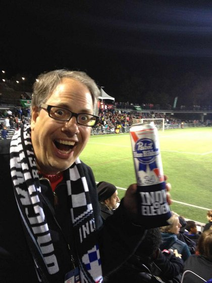 Indy Eleven President Peter Wilt was overjoyed to find a PBR Super Tall Boy.