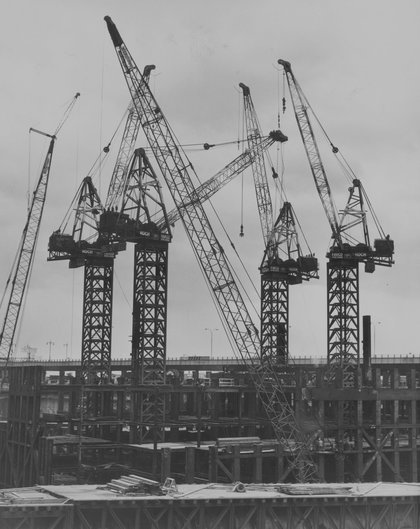 Kangaroo cranes in position at the excavation site for the World Trade Center, 1968. (Hulton Archive/Getty Images)