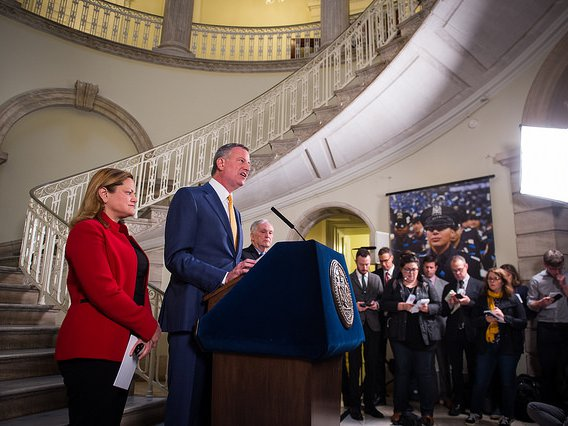 New York City Mayor Bill de Blasio and Council Speaker Melissa Mark-Viverito announce the closure of RIkers Island over a 10 year period on Friday, March 31st, 2017.