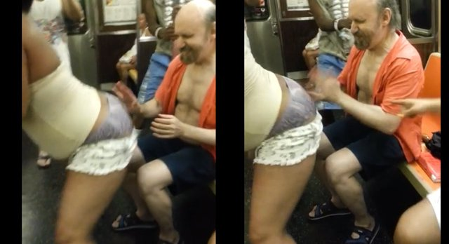 Man taking it up the ass in public Video Woman Lets Very Happy Straphanger Play Butt Bongos On Subway Gothamist
