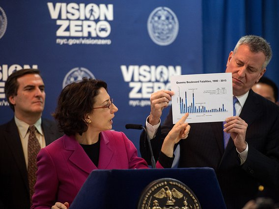 Mayor Bill de Blasio hosts a press conference announcing the Vision Zero End of 2 Years Numbers at Razi School in Woodside, New York Tuesday January 19, 2016