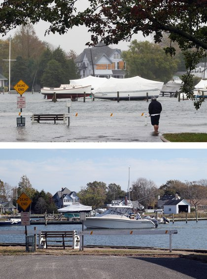 [Top] A visitor braves the elements on a partially submerged Coles Avenue as high tide and winds flood the streets on October 29, 2012 in Amityville, New York. [Bottom] A boat floats in the water off Coles Avenue on October 22, 2013 in Amityville, New York.