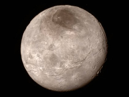 Charon, Pluto's largest moon.</br>