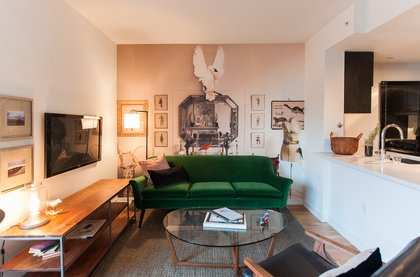 Birds, taxidermy, copies of Monocle and Modern Farmer, glass jars of rhubarb syrup, and gently frayed aprons adorn the apartments, as if the attractive, tasteful couple who lives here will be back any moment.<br/>