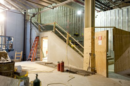 Moving west from the FTSC, you pass this staircase- it leads to the Dey Street entrance to the center.