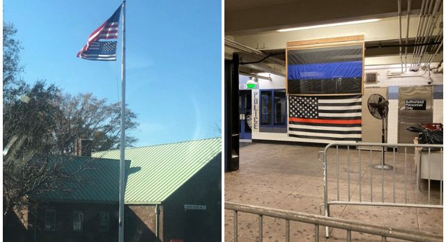 De Blasio: Controversial 'Thin Blue Line' Flags At NYPD Stations Could Be Photoshopped