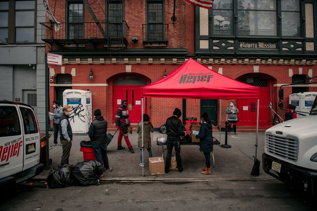 A New York City Relief pop-up tent was set up to distribute prepackaged meals outside of the Bowery Mission in Lower Manhattan.