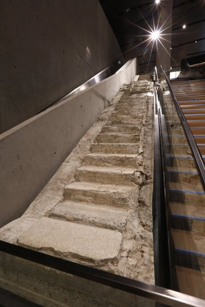 """The Vesey Street stairs, which are known as the Survivors' Stairs because <A href=""""http://gothamist.com/2008/03/09/911_survivors_s.php"""">hundreds used them to leave the WTC</a>.<br/>"""