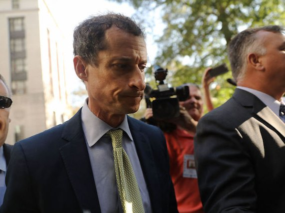 Anthony Weiner arrives at federal court for his sentencing on Monday, September 25