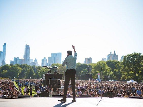 Mayor Bill de Blasio speaks at the Global Citizen Festival in Central Park on Saturday, September 23, 2017.